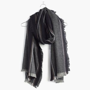 Madewell Clubhouse Striped Fringe Scarf in Grey